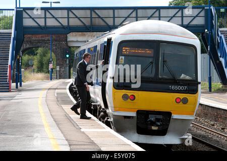 Chiltern Railways class 165 train at Hatton station, Warwickshire, UK - Stock Photo