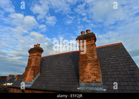 ... Tall Red Brick Solid Fuel House Chimney And Blue Sky, Derry,  Londonderry, Northern