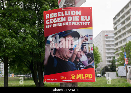 Election poster for MLPD in Berlin, Germany. - Stock Photo