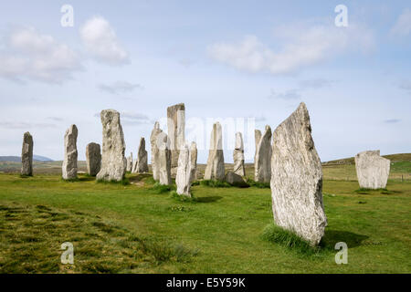 Neolithic standing stones in Callanish Stone Circle from 4500 BC. Calanais Isle of Lewis Outer Hebrides Western - Stock Photo