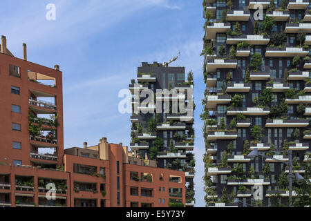 Bosco Verticale (Vertical Forest) is a pair of residential towers in the Porta Nuova district of Milan, Italy, - Stock Photo