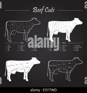 Scheme American cuts of beef - milk cow cuts elements on blackboard - Stock Photo