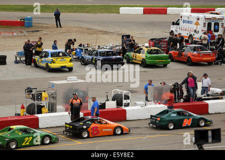 The pit lanes at the Auto Clearing Motor Speedway racing circuit in Saskatoon, Saskatchewan, Canada. - Stock Photo
