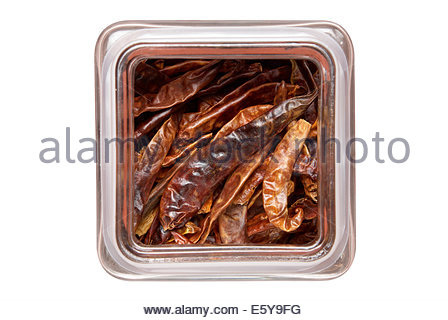 Overhead view of a glass jar filled with red dried chillis - Stock Photo