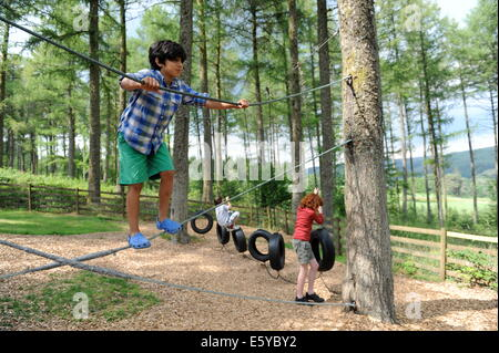 School friends swinging in the adventure park at Garwnant Forest, Powys near Merthyr Tidfil, wales - Stock Photo
