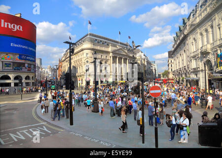 Piccadilly Circus and Statue of Eros  in London's West End - Stock Photo