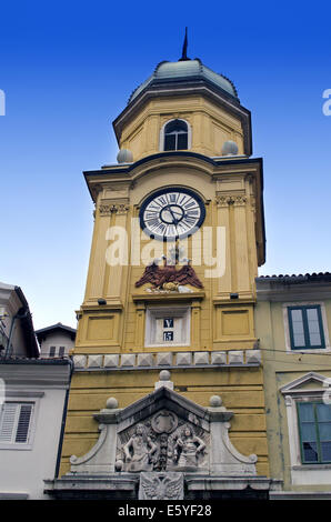 Historic City Tower - Clock in Rijeka down town - Stock Photo