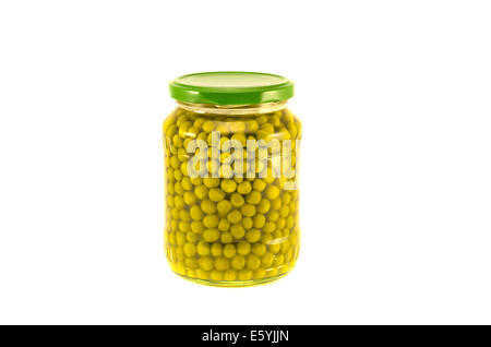 green peas vegetables canned preserved in glass jars pots isolated on white background - Stock Photo