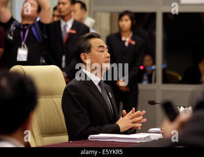 Nay Pyi Taw, Myanmar. 9th Aug, 2014. Chinese Foreign Minister Wang Yi attends the China-ASEAN Ministeral Meeting - Stock Photo