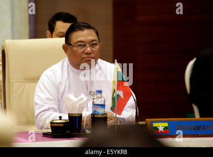 Nay Pyi Taw, Myanmar. 9th Aug, 2014. Myanmar Foreign Minister U Wunna Maung Lwin attends the China-ASEAN Ministeral - Stock Photo