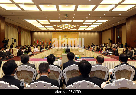 Nay Pyi Taw, Myanmar. 9th Aug, 2014. The China-ASEAN Ministeral Meeting is held at Myanmar International Convention - Stock Photo