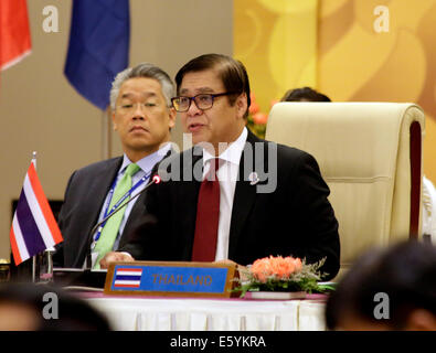 Nay Pyi Taw, Myanmar. 9th Aug, 2014. Sihasak Phuangketkeow, permanent secretary of Thailand's Foreign Ministry, - Stock Photo