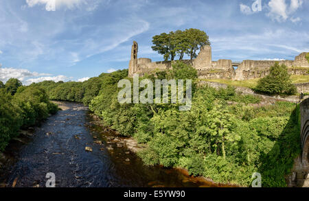 Barnard Castle and the River Tees - Stock Photo