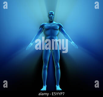 Human body with metallic appearance - 3d render - Stock Photo