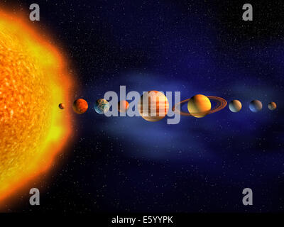 A diagram of the planets in our solar system with the planets ...