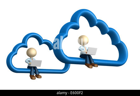 3d people - man, person with laptop sitting on cloud computing symbol - Stock Photo