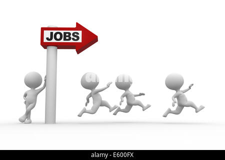 3d people - man, person with arrow and word 'Jobs' - Stock Photo