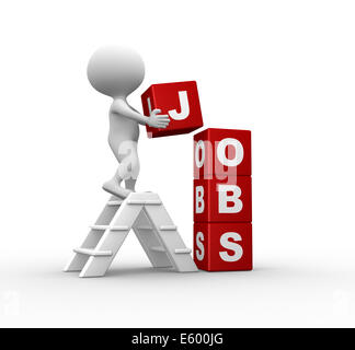 3d people - man, person with cubes and word 'jobs' - Stock Photo