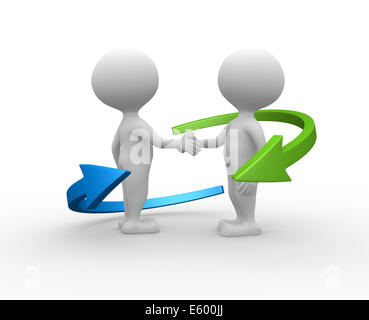 3d people - men, person shaking hands and an arrows. Partnership. - Stock Photo