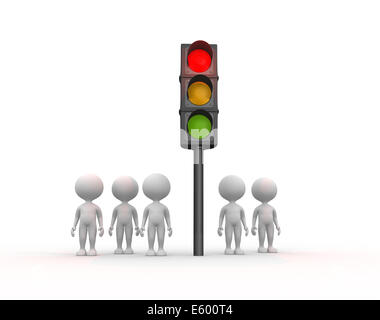 3d people - men, person and traffic light - Stock Photo