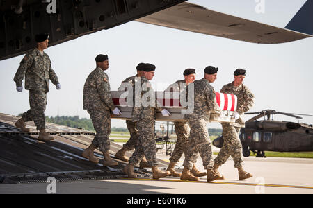Delaware, USA. 7th August, 2014. US Army Soldiers carry a flag-draped case with the remains of Army Maj. Gen. Harold - Stock Photo