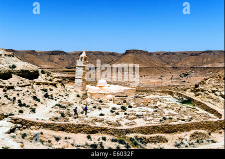 Africa, North Africa, Maghreb, South Tunisia, Chenini. Governorat of Tataouine. The mosque of the Seven Sleepers. - Stock Photo