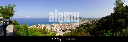Zante, Greece - Bochali, hilltop village suburb of Zakynthos town. Panorama from the square. - Stock Photo