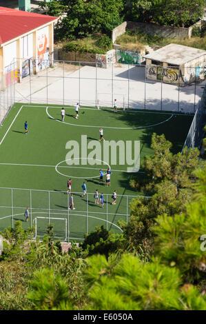Zante, Greece - mini football pitch. - Stock Photo