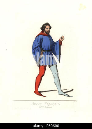 Costume of a young French man, long cracows. - Stock Photo