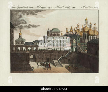 The Kremlin, the old tsar's palace in Moscow, Russia, circa 1800. - Stock Photo