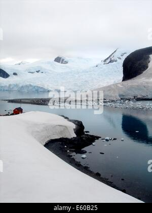 Brown Station, Argentine Antarctic base and scientific research station and home to Gentou penguins on the Antarctic - Stock Photo