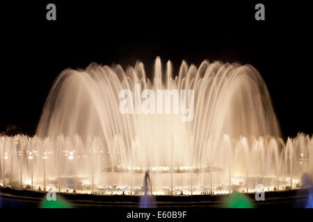 Magic Fountain music and light show at night in Barcelona, Catalonia, Spain. - Stock Photo