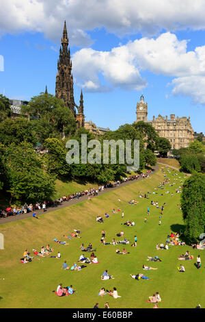 Princes Street Gardens with the Scott monument, Edinburgh, Scotland, UK - Stock Photo