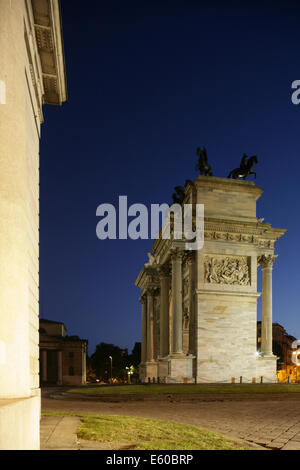 Arco Della Pace or the Arch of Peace, Piazza Sempione, Milan, Italy. - Stock Photo