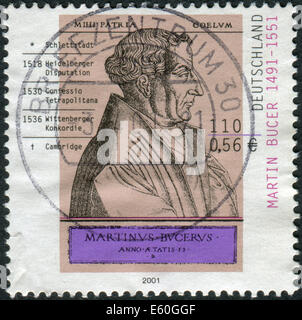 GERMANY - CIRCA 2001: Postage stamp printed in Germany, shows Martin Bucer, engraving by Rene Boyvin, circa 2001 - Stock Photo