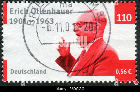 Stamp printed in Germany, dedicated to the 100th anniv. of the Chairman of the SPD, Erich Ollenhauer - Stock Photo