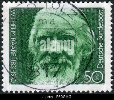 Postage stamp printed in Germany, shows the poet Wilhelm Raabe, circa 1981