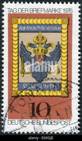 Postage stamp printed in Germany, shows the Imperial Post Emblem, Hoechst am Main, 18th century - Stock Photo
