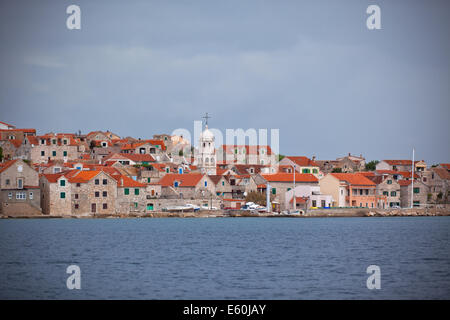 Sepurine, Prvic island, an old village of farmers and fishermen on the Adriatic coast in Croatia - Stock Photo