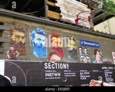 Ned Kelly images on Stevenson Lane in Melbourne, Victoria, Australia - Stock Photo