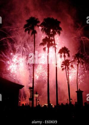 The Illuminations fireworks and light show, held each night in the lagoon at EPCOT center, Walt Disney World, Orlando, - Stock Photo