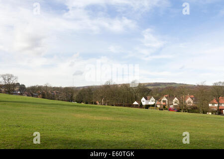 North west rural fringe of Bolton, Lancashire, from Moss Bank park towards Barrow Bridge and the Winter Hill TV - Stock Photo