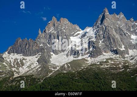 Les Aiguilles de Chamonix including Aiguille du Fou, Aiguilles des Ciseaux, Aiguille Blaitière, Aiguille du Grepon - Stock Photo
