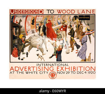 1920 vintage Underground poster promoting International Advertising Exhibition at White City/Wood Lane Station - Stock Photo