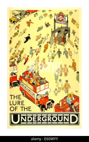 Vintage poster circa 1930's for The London Underground illustrating 'The Lure of The Underground' - Stock Photo