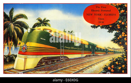 1938 First Electric Powered train New York Florida USA - Stock Photo