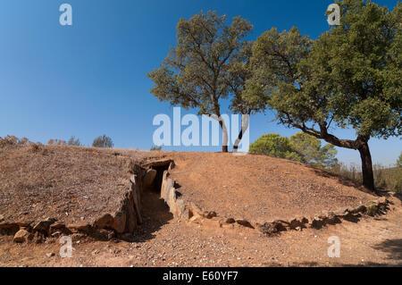 Dolmens of El Pozuelo - betwen 2500-2200 BC- covered, exterior view, Zalamea La Real. Huelva province, Andalusia, - Stock Photo