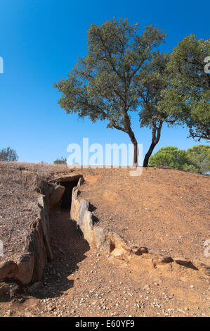 Dolmens of El Pozuelo - betwen 2500-2200 BC- covered, exterior view, Zalamea La Real. Huelva province, Andalusia, - Stock Photo