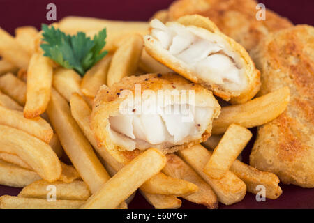 Fish and Chips, Battered Fish Fillet with Potato, Fries - Stock Photo