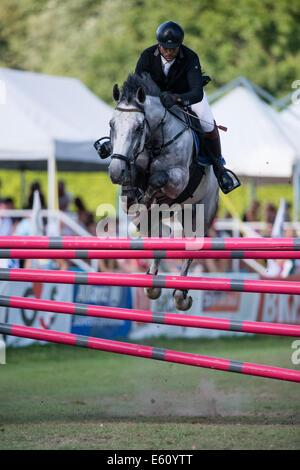 Bratislava, Slovakia. 10th Aug, 2014. Gombos László (HUN) on horse Aladin jumps over hurdle during Mercedes-Benz - Stock Photo